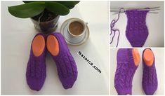 tigla-zincirle-baslanan-5-sis-patik-yapimi Baby Knitting Patterns, Knitting Stitches, High Socks, Shopping Bags, Fashion, Shoes, Slipper, Tejidos, Tricot