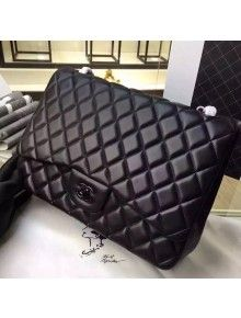 Chanel Maxi So Black Lambskin Classic Double Flap Bag(Black Hardware)