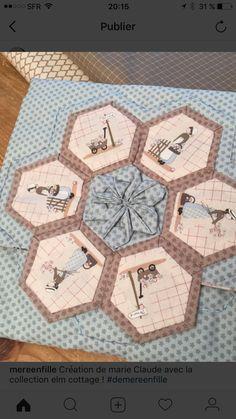 Idées Yoko Saito, Sunbonnet Sue, Hexagons, Applique, Patches, Creations, Diy Crafts, Couture, Bags