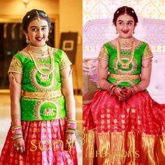 Kids Blouse Designs, Kurta Designs Women, Bridal Blouse Designs, Kids Dress Wear, Dresses Kids Girl, Kids Outfits, Simple Gown Design, Kids Indian Wear, Langa Voni