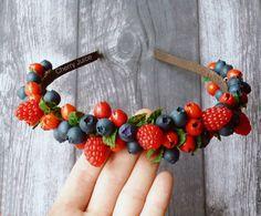 """Купить Ободок """"Сочное лето"""" - разноцветный, ягоды, полимерная глина, пластика, летнее украшение, лето"""