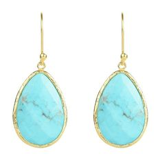 Gold Single Drop Earring Turquoise