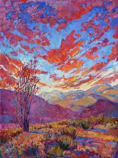 Emotive oil painting in saturated color, by desertscape painter Erin Hanson