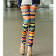 Multi Horizontal Stripe Print Leggings