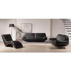 BO-3979 Black Leather Sofa Set