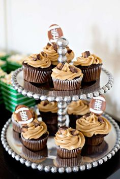 Chocolate cupcakes at a football party! See more party ideas at CatchMyParty.com!
