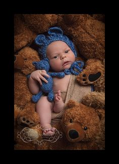 Crochet Bear Bonnet and Teddy Bear Set  by sisterscraftcorner