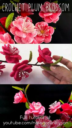 In this video I work up a plum blossom. represent the thawing of winter, and the changing of seasons. This flower is native to Japan and eastern Asia. Crochet Lovey Free Pattern, Knitted Flower Pattern, Crochet Flower Tutorial, Crochet Motifs, Form Crochet, Crochet Patterns Amigurumi, Yarn Flowers, Knitted Flowers, Small Flowers