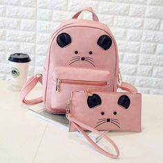 Children's Solid Color Leather Cute Little Cartoon Mouse 2-PC Backpack Clutch Set 4 Colors