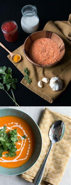 Recept vegan rode linzensoep met koikosmelk. et is gezond, makkelijk, voedzaam, heerlijk én low-budget. #lowbudget #vegan #veganfood #linzen #kokosmelk