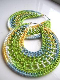 Crocheted hoops with beads lemon and lime by BohemianHooksJewelry Crochet Earrings Pattern, Crochet Butterfly, Bijoux Diy, Crochet Accessories, Loom Knitting, Crochet Designs, Bead Art, Designer Earrings, Bead Crafts