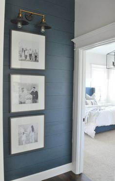 Coffee Table Makeover Wall love for a hallway with shiplap and art Upstairs Hallway, Hallway Walls, Hallway Ideas, Hallway Art, Modern Hallway, Wall Ideas, Basement Wall Colors, Hallway Sconces, Hallway Paint Colors