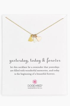 Dogeared Yesterday, Today, Forever Heart Charm Necklace