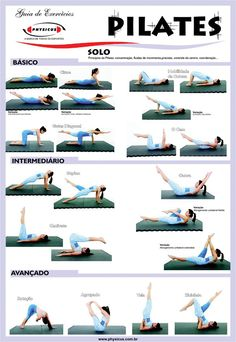 Pilates: learn here some basic, intermediate and advanced exercises. Include some of these useful and effective exercises in your workout routines. Take action and get results!    - If you like this pin, repin it and follow our boards :-)  #FastSimpleFitness - www.facebook.com/FastSimpleFitness