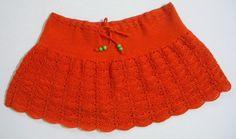 orange crocheted skirt