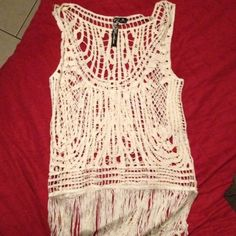 White top Really nice white top with fringes. Can be used over bathing suit or over a bra or tank top. Never worn NWOT Feathers  Tops
