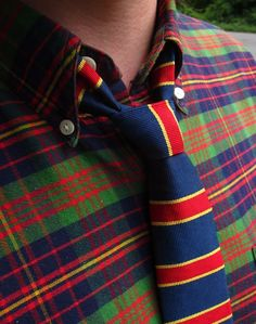 Tartan shirt and stripes tie #tartan #plaid - Carefully selected by GORGONIA www.gorgonia.it