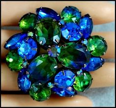 Vintage 1960s BLUE AND GREEN Crystal Rhinestone Brooch Pin ~ Signed KRAMER