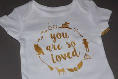 Harry Potter Inspired Baby Onesie // Gold // You Are So Loved Bodysuit // Harry Potter Baby Shower Gift by Energeek on Etsy https://www.etsy.com/listing/250345378/harry-potter-inspired-baby-onesie-gold