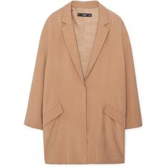 Oversize Blazer (305 DKK) ❤ liked on Polyvore featuring outerwear, jackets, blazers, beige jacket, lapel jacket, mango blazer, lined jacket and long sleeve jacket
