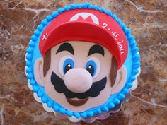 Birthday Cake Photos - Super Mario! Vegan chocolate vanilla cake with strawberry filling