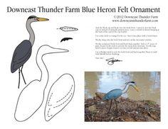 "Blue Heron Ornament Pattern Make a ""Harry Heron"" as a take-home each week/day? Bird Crafts, Animal Crafts, Felt Crafts, Sewing Stuffed Animals, Stuffed Animal Patterns, Felt Patterns, Bird Patterns, Ornament Pattern, Bird Template"