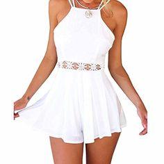Minetom Sexy Damen Kleider Jumpsuits Shorts Halter Rückenfrei Verbindung Stück Tops Party Club Strand playsuit ( Weiß EU S )