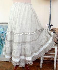 Юбка летняя Лен и Кружева – купить или заказать в интернет-магазине на Ярмарке Мастеров | Длинная, многослойная, ярусная, летящая юбка из…