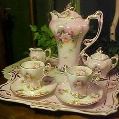 French-Footed Chocolate Pot Set with Two Tea Cups and Saucers, Creamer, Lidded Sugar Bowl and Tray