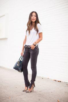White tee + leopard print heels