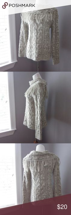 Fringe Cable Knit Sweater Gently worn - excellent condition! 100% acrylic. Fringe cowl neck sweater. Perfect for cozy and comfy outfits. Bust 18.5 inches. Length 25.5 inches.  Bundle for best deals! Hundreds of items available for discounted bundles! You can get lots of items for a low price and one shipping fee!  Follow on IG: @the.junk.drawer Cato Sweaters Cowl & Turtlenecks