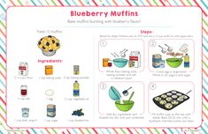 Bake muffins bursting with blueberry flavor! Kids Cooking Recipes, Cooking Classes For Kids, Kids Meals, Kid Recipes, Baking Flour, Baking Soda, Cracked Egg, Little Chef, Baking Muffins