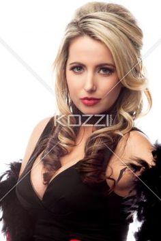 portrait of a smart young female fashion model. - Portrait of a gorgeous young female fashion model over white background, Model: Nadine Yelovich
