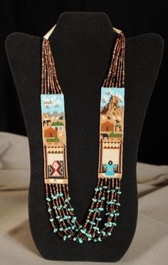 Beaded story necklace | Tayah Halgonnie (Navajo).  Seed beads, turquoise and fiber.