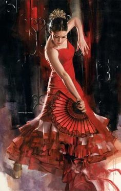 El Fuego by Richard S Johnson ~ Flamenco dancer in red Art Triste, American Academy Of Art, Spanish Dancer, Dance Paintings, Flamenco Dancers, Art Institute Of Chicago, Dance Pictures, Dance Art, Latin Dance