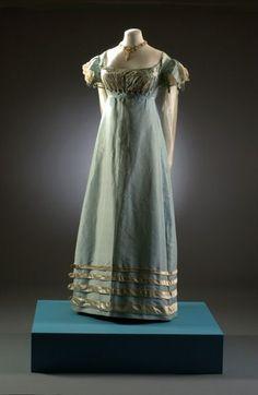 blue dress 1810 | ... 09.1258 c1817-1821, duck-egg blue silk taffeta dress with cream detail