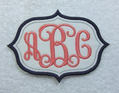Iron on Sleek Oval Triple Vine Interlocking Monogram Embroidered Iron On Patch MADE TO ORDER by TheAppliquePatch on Etsy