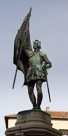 Juan Bravo: el comunero. Auque nacido en Atienza (Guadalajara), toda su vida la hizo en Segovia. Monumento a Juan Bravo del escultor segoviano Aniceto Marinas García, en Segovia.