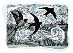 'Swallows and Seas' by Angela Harding (lino and silkscreen print) Kids Printmaking, Intaglio Printmaking, Lino Art, Linoprint, Animal Sketches, Silk Screen Printing, Flyer, Linocut Prints, Book Illustration