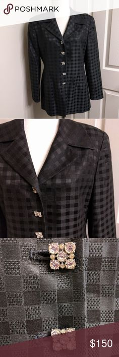 """Vintage Christian Dior Silk Blend Checkered Blazer Excellent condition vintage blazer by Christian Dior. Padded shoulders. Intricate crystal buttons. Armpit to armpit: 20"""" shoulder to shoulder: 16"""" shoulder seam to end of sleeve: 22"""" shoulder to bottom hem: 29"""" Christian Dior Jackets & Coats Blazers"""