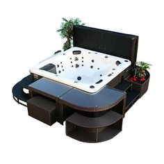 Canadian Spa Company Corner Bar and 2 Stools - Square Spa Surround - The Home Depot Hot Tub Backyard, Backyard Patio, Canadian Spa, Spa Sale, Hot Tub Accessories, Stair Kits, Back Garden Design, Hot Tub Cover, Build A Fort