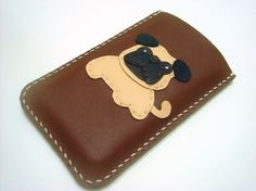 Bobby the Pug iPhone Leather Case  Dark Brown  by leatherprince, $38.50