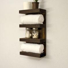 Bathroom Towel Rack 4 Tier Bath Storage Floating Shelf Hotel Style Dark Walnut