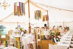 Ribbons Decor Marquee Chairs Chandeliers Rainbow Farm Creative Wedding http://www.livvy-hukins.co.uk/