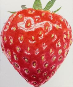 Juicy Strawberry - painted on a Juicy Strawberry Watercolour Course at RHS Wisley with Anna Mason.