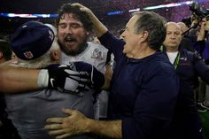 New England Patriots head coach Bill Belichick (right) congratulates David Andrews (center) after defeating the Atlanta Falcons in overtime at Super Bowl LI on Sunday, Feb. 5, 2017, in Houston.