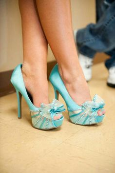 Tiffany Blue Wedding Shoes Made Of Laces And A Cute Brooch