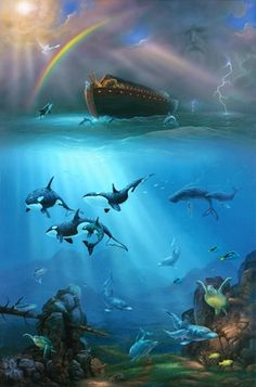 "Noah's Ark is the centre point of this ocean-themed wall mural. Animals at the bow of the ark watch frolicking orcas, dolphins and sea turtles. A white dove is about to land as a beautiful rainbow appears in the clearing sky. -- artwork by David Miller-- Genesis 8:1. ""Then God remembered Noah, and every living thing, and all the animals that were with him in the ark. And God made a wind to pass over the earth, and the waters subsided."""