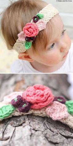 Crochet Headband Free, Crochet Flower Headbands, Crochet Headband Pattern, Knitted Headband, Crochet Patterns, Girl Headbands, Free Crochet, Crochet Toddler, Baby Girl Crochet