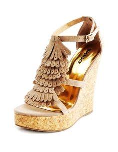 Kiltie-Fringe Sueded Wedge Shoes